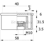 Опора пластиковая угловая 40х40 с гайкой М10