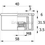 Опора пластиковая угловая 40х40 с гайкой М8